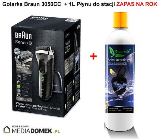 Braun 3050cc Golarka szara + Stacja + 1L Biopretta