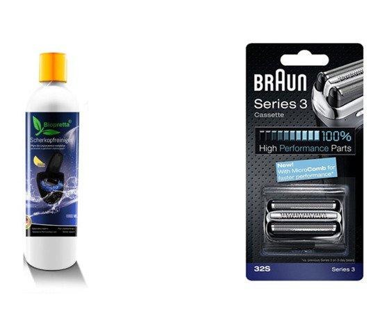 Zestaw Braun 32s Folia i Nóż + 1 litr Biopretta CCR