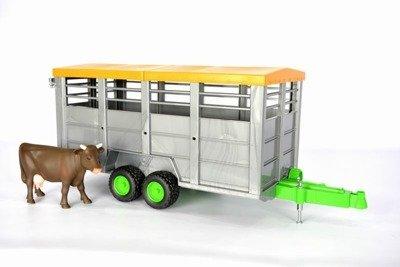 Bruder 02227 przyczepa do przewozu zwierząt+krowa